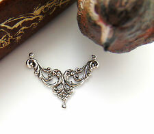 SILVER (4) Victorian Flower Scroll CONNECTOR Stamping ~ Antique Silver (CB-3092)
