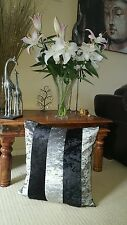 CUSHION COVER Metal Effect SILVER AND BLACK CRUSH  Marble  Velvet 20inch
