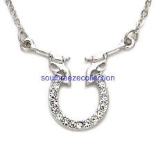 Cowgirl Six Shooter Revolver Gun Good Luck Charm Horseshoe Wome Pendant Necklace