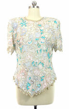 Vtg Laurence Kazar White Silk Opal Sequins Pearl Beads Evening Dressy Top L