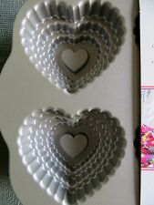 Nordic Ware Tiered Heart 6 x Cakelets Bundt Baking Pan Tin heavy castaluminium