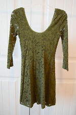 NWT Free People lace scoop neck back stretch skater dress ¾ sleeve olive xs