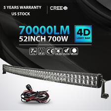 "4D 52inch 700W Curved LED Light Bar SPOT FLOOD Offroad Jeep Truck ATV PK 54"" 50"""