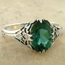 GREEN LAB AMETHYST .925 STERLING ANTIQUE DESIGN SILVER RING SIZE 5.75,    #766