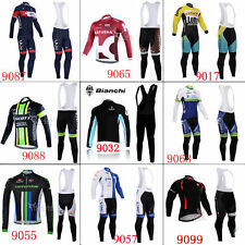 2016 Gel pad long sleeve cycling jersey BIB Pants kits Thermal Fleece Winter Fit