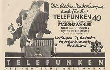 Y4378 TELEFUNKEN Radio - Pubblicità d'epoca - 1929 Old advertising