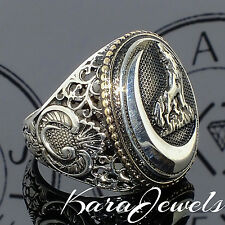 925 Sterling Silver Men's ring with howling Wolf at the moon US10 free resizing