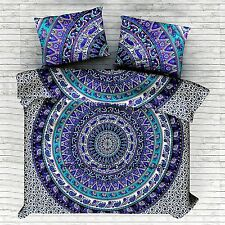 Indian Elephant Cotton Mandala Queen Size Duvet Cover Set Ethnic Comforter Cover