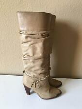 Vintage 1970's 80's Zodiac light brown leather tall wooden heeled boots 6.5 1/2