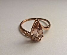 Beautiful 3 ct natural Pear cut Peach  Morganite 9K Rose Gold ring size 9