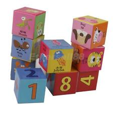 9PCS COLORFUL BUILDING BLOCKS PRESCHOOL WOODEN CHILD/KIDS DEVELOPEMENT TOY