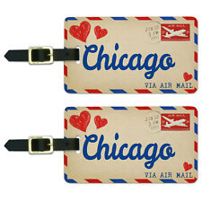Air Mail Postcard Love for Chicago Luggage Suitcase Carry-On ID Tags Set of 2