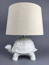 Vintage Hollywood Regency Italian White Ceramic Turtle Lamp Mid Century Modern