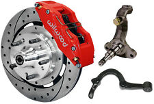 """WILWOOD DISC BRAKE KIT,SPINDLES,ARMS,LINES,FRONT,64-72,12"""" DRILLED,6 PISTON RED"""