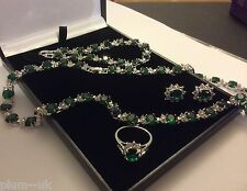SE201 Set sim diamond emerald earrings necklace bracelet ring white gold gf BOXD