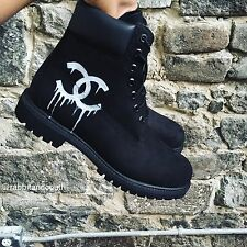 "Custom Dripping Chanel ""CC"" Timberlands Sz 12 Yeezy Boost V2 Supreme"
