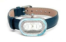 ECCLISSI Sterling Silver MOP & DIAMOND Blue LEATHER Watch 23795 - NEW WITH BOX