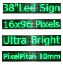 "38""x 6.5"" LED Sign Programmable Scrolling Window Message Display Green Color P10"