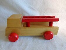 """FIRE TRUCK TOY with Movable Ladder 6"""" Wood Brown Red Rolling Wheels"""