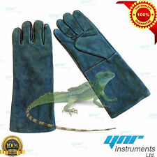 "YNR Snake Catcher Gloves Heavy Duty Reptile Lizards Leather Green Gloves 17"" NEW"