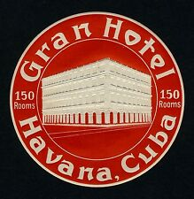 Gran Hotel HAVANA Cuba Kuba The Caribbean * Old Luggage Label Kofferaufkleber