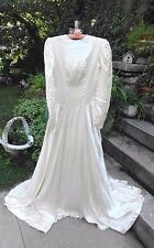 VINTAGE 1930's EARLY 40's WEDDING DRESS W VEIL AND SLIP  INCLUDES ORIG PATTERNS