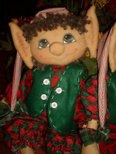 Primitive Raggedy Elf doll Sheldon Christmas Winter Pattern #109