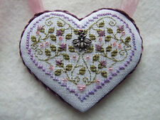 Cross Stitch Heart Shaped Necklace One of a Kind Statement Pendant Necklace