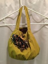 marni travel accessorie bag / chartuse green cotton embellished with beads