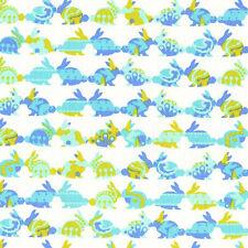 Aqua Lime Bunny Lines Cynthia Rowley Flannel BT yard  Michael Miller Fabrics