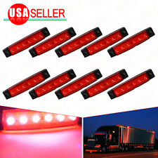 10X Red Trailer Side Marker Indicators Lights 6LED Bus Van Truck Sealed Light