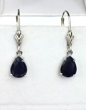 14k Solid Gold Leverback One Stone Dangle Earrings, Natural Pear Sapphire 2.7TCW