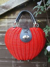 1950s Red Apple / Heart Shaped Rattan Handbag Fifties Rockabilly Novelty Purse