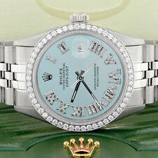 Rolex Datejust 36mm Steel Jubilee Watch w/Baby Blue Roman Dial & Diamond Bezel