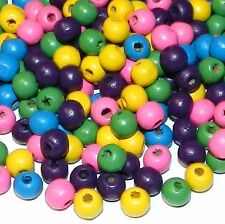WL363 Multicolor Pink Yellow Green Purple Blue 8mm Round Rondelle Wood Bead 90gm