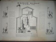 GRANDE PUBLICITÉ ORIGINALE 19e PARIS MAISON EGROT APPAREILS DISTILLATION