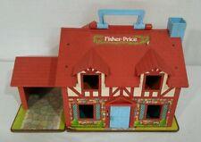 Vintage Fisher Price cottage doll house blue white #952