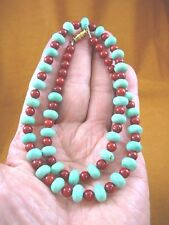 "(v326-121) 18"" long 10x6 Chinese turquoise + red Garnet bead gemstone Necklace"