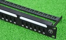 24ports Cat.6 patch panel, RJ45 sockets with shutter protection, incl. cable bar
