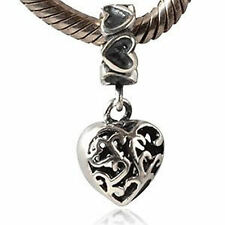 Genuine Solid Sterling Silver 925 Heart Dangle Charm for European Bracelets