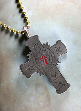 Pewter Rose Cross Necklace - Rosy Cross Rose Croix Golden Dawn Alchemy Red Inlay