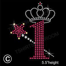 Número de cumpleaños 1 + varita y corona de diamantes de imitación de transferencia de la revisión de hierro en + Regalo Gratis