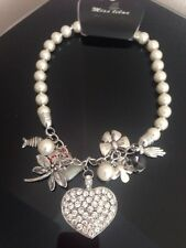 Stunning Charm Necklace Costume Jewellery Diamante Pearl New BNWT Silver Gift