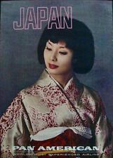 PAN AM AIRLINES JAPAN WOMEN OF THE WORLD (left) Vintage Travel poster 1964 NM