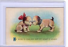 VINTAGE DOGS PUPPIES MY NOSE IS COLD HEART IS WARM POSTCARD #503 POSTMARK 1918