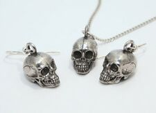 Human Skull Necklace and Earrings Set by Hoardersworld, Fine English Pewter