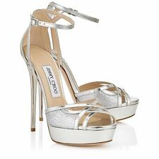 $895 Jimmy Choo Laurita Silver Mirror Leather and Glitter Platform Sandals 39.5