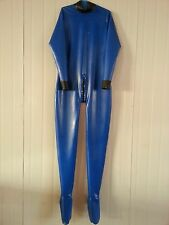 latex Rubber Catsuit Black and Navy blue Bodysuit Tights Tailored Size XS-XXL