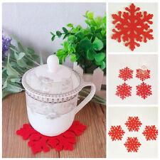 Fine 4pcs Christmas Snowflake Cup Coaster Mat Anti-Skid Pad Table Placemat Xmas