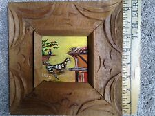 Bird painting with carved wood frame, signed
